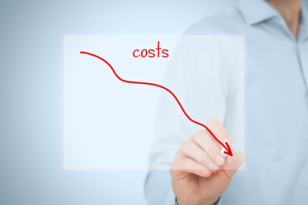Foto de Costs reduction, costs cut, costs optimization business concept. Businessman draw simple graph with descending curve. - Imagen libre de derechos