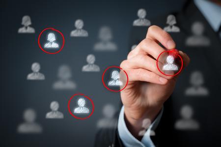 Photo pour Target audience, marketing segmentation, customers care, labour market, customer relationship management (CRM) and team building concepts. - image libre de droit