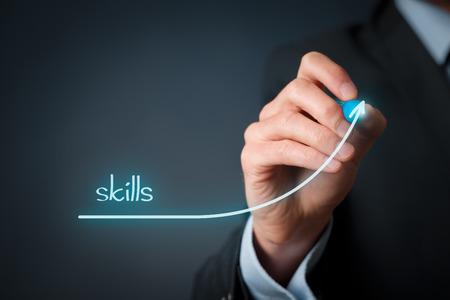 Foto de Skills improvement concept. Businessman draw rising curve of skills. - Imagen libre de derechos