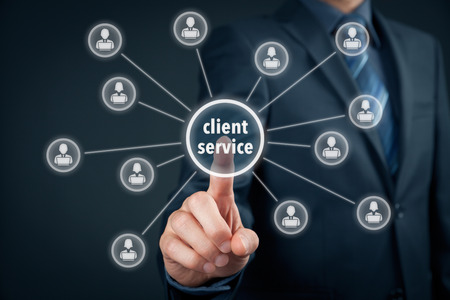 Photo for Client service concept. Manager click on virtual client service button. - Royalty Free Image