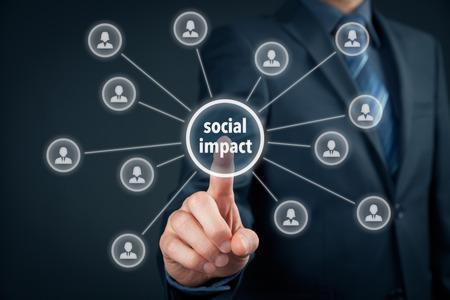 Photo pour Company improve its social impact (work on influence marketing). - image libre de droit