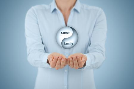 Foto de Career and family balance (work life balance) concept. Female life coach (career manager) give advice about career-family (work-life) balance, central composition. - Imagen libre de derechos