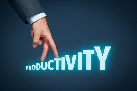 Foto de Increase personal or company productivity concept. Businessman represented by hand rise on increasing letters on word productivity. - Imagen libre de derechos