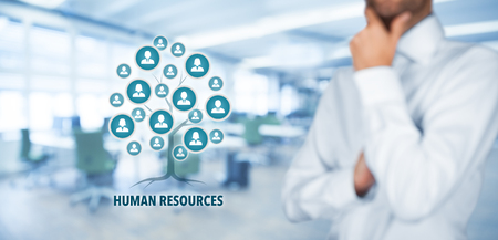 Photo for Human resources (HR) concept. Human resources is a root of a tree in relationships with customers. Customers represented by icons. - Royalty Free Image