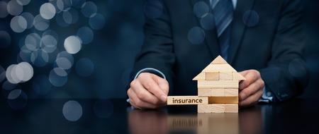 Photo pour Property (family house) insurance protection concept. - image libre de droit
