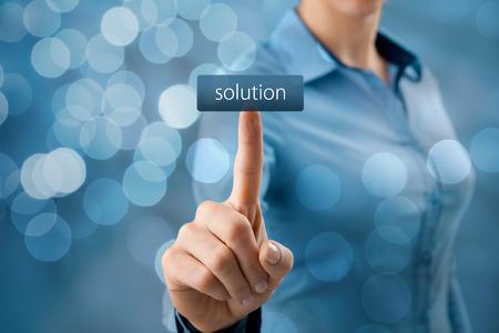 Foto de Get solution concept. Businesswoman click on virtual button with text solution (look for easy solutions). - Imagen libre de derechos