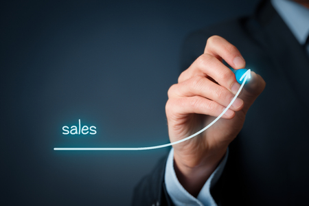 Photo for Increase company sales concept. Businessman plan sales growth. - Royalty Free Image