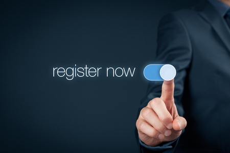 Photo for Businessman switch-on button register now, web registration concept. - Royalty Free Image