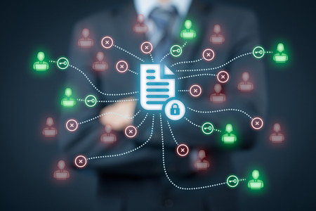 Foto de Corporate data management system (DMS) and document management system with privacy theme concept. Businessman think how to protect document connected with users, access rights symbolized by key. - Imagen libre de derechos