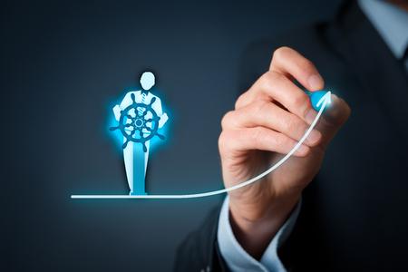 Foto de Business improvement and development concept. Captain (symbol of team leader) change direction to improve company performance.  - Imagen libre de derechos