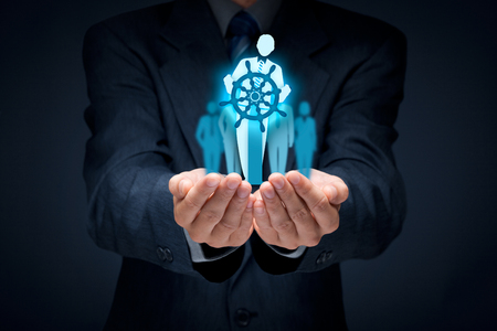 Photo pour Business improvement and development concept. Captain (symbol of team leader) change direction to improve company performance.  - image libre de droit