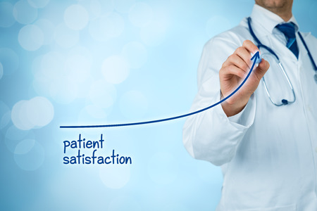 Photo for Doctor improve patient satisfaction concept and better access to medical and healthcare supervision. Medical practitioner want to increase number of satisfied clients (patients). - Royalty Free Image