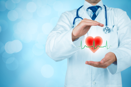 Photo pour Protect health (healthcare) and heart problems prevention (cardiology) concept. Cardiologist or general practitioner doctor with protective gesture and symbol of heart and ECG heartbeat. Medical insurance concept. - image libre de droit