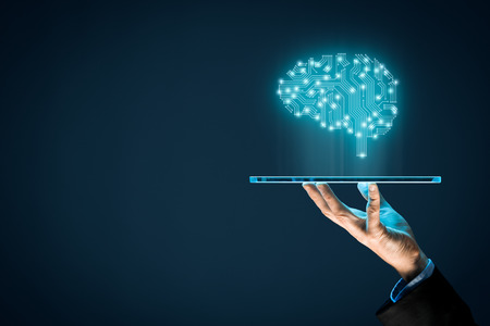Photo pour Artificial intelligence (AI), machine deep learning, data mining, and another modern computer technologies concepts. Brain representing artificial intelligence and businessman holding futuristic tablet. - image libre de droit
