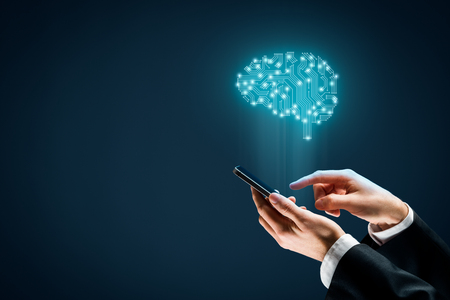 Photo pour Artificial intelligence (AI), machine deep learning, data mining, and another modern computer technologies concepts. Brain with PCB design representing AI and businessman holding smart mobile phone. - image libre de droit