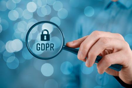 Photo pour GDPR (general data protection regulation) concept. Businessman or IT technologist focus on GDPR problematics. - image libre de droit