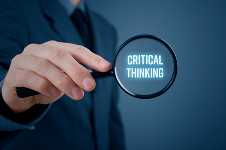 Foto de Critical thinking concept. Businessman is focused on critical thinking. - Imagen libre de derechos