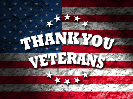Photo for thank you veterans card american flag grunge background - Royalty Free Image