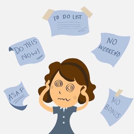 Ilustración de Very busy business woman - Imagen libre de derechos