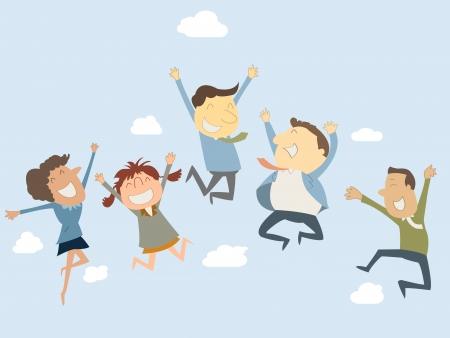 Ilustración de Happy business man and woman jumping in the air - Imagen libre de derechos