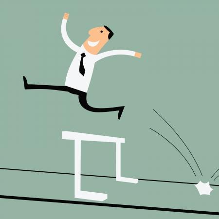 Ilustración de Business man running and can jumping over the hurdle - Imagen libre de derechos