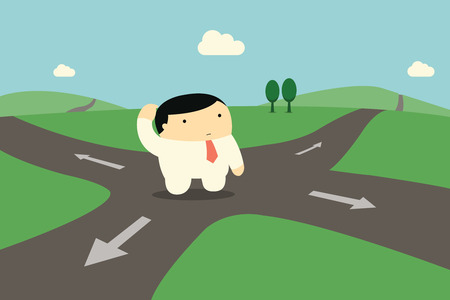 Illustration pour Cute character businessman standing alone at intersection, being confused and making decision to choose right way to go.  - image libre de droit