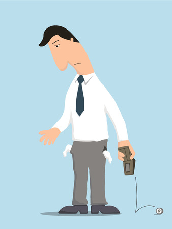 Illustration pour Unhappy businessman showing empty pocket inside out with no money in wallet, standing lonely in despair   - image libre de droit