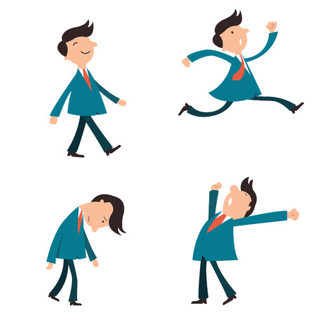 Illustration pour Set of character businessman, suit man, or office workers pose in various emotion, yawning, happy, walking, running in a hurry, and in sad feeling.   - image libre de droit