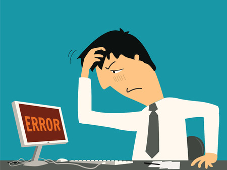 Ilustración de Businessman confused and being in bad temper with error message on computer   - Imagen libre de derechos
