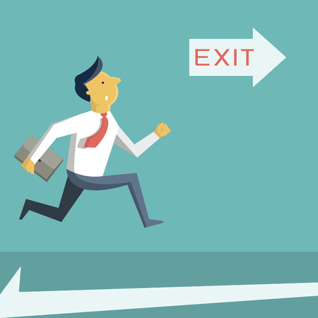 Illustration for Businessman running in a hurry, looking at arrow with exit sign, and going to open door. Business concept in safety, urgency, security, or emergency.  - Royalty Free Image