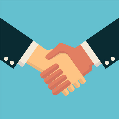 Illustration for Businessman shaking hands, in trendy flat design style.  - Royalty Free Image