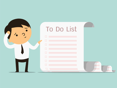 Illustration pour Businessman confused with long paper note with to do list, business concept in a lot of things to do. You can write your text or design in copy space. - image libre de droit