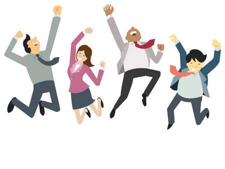 Ilustración de Happy and successful businesspeople, jumping in the air, business concept in teamwork and corporation. - Imagen libre de derechos