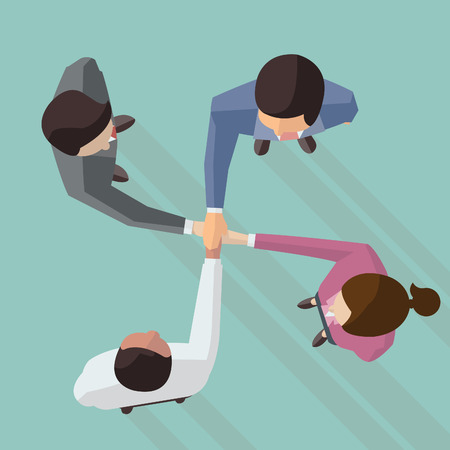 Illustration for Vector illustration of businessman and woman join hands by touching top of each other, design in flat design with long shadow, view from top view. - Royalty Free Image