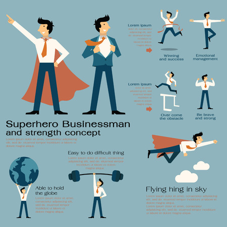 Illustration for Character cartoon set of superhero businessman with in strength concept, be strong, winning, powerful man, flying hign, concentration, and get over the obstacle. Flat design. - Royalty Free Image