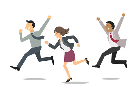 Ilustración de Confident business people running into the same direction with happy and cheerful expression. Business concept in winning and successful team. - Imagen libre de derechos