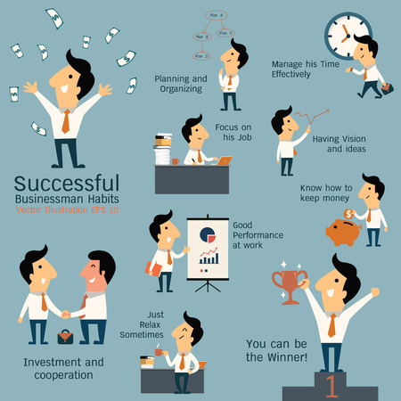 Ilustración de Set of successful businessman habits, various poses and many gestures. Cute character businessman with flat design style. - Imagen libre de derechos