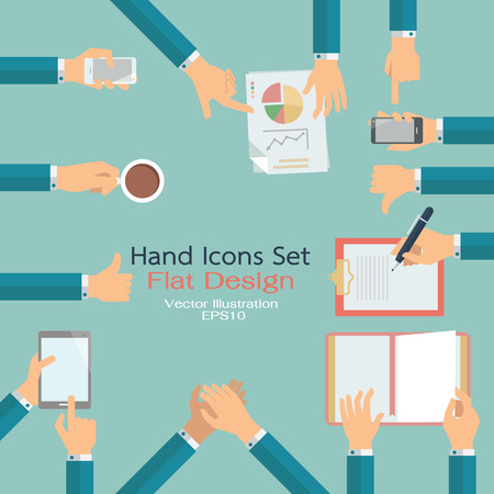 Illustration pour Flat design of hand icons set. Business concept of hand in many characters, presenting, showing, using tablet and smart phone, writing, thumb up and down, open book, applauding, and holding coffee. - image libre de droit