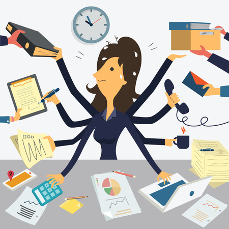 Illustrazione per Businesswoman working with eight hands, representing to very busy business concept. - Immagini Royalty Free