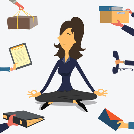 Illustrazione per Businesswoman doing Yoga to calm down the stressful emotion from multi-tasking and very busy working. - Immagini Royalty Free
