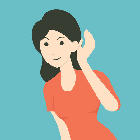 Illustration pour Cartoon character of woman listening to gossip or hearing news. Flat design. - image libre de droit