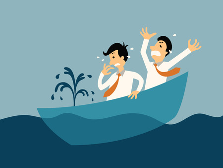 Illustration pour Two businessman being panic because of sinking boat, abstract illustration business concept in bankruptcy. - image libre de droit