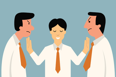 Ilustración de Businessman being mediator between conflict or arguing co-worker in office. - Imagen libre de derechos