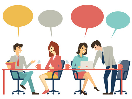 Ilustración de Business people, man and woman, at meeting table, discussing, presenting and explaining concept. Flat design. - Imagen libre de derechos