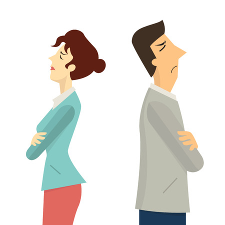 Ilustración de Businessman and woman turning their back to each other, businesss concept in conflict, angry, arguing, breakdown, or divorce. - Imagen libre de derechos