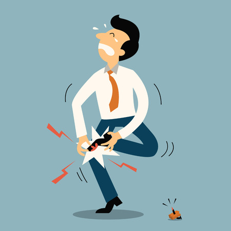 Illustration pour Unlucky businessman get injury from stepping to nail. Business concept in accident or unfortunate event. - image libre de droit