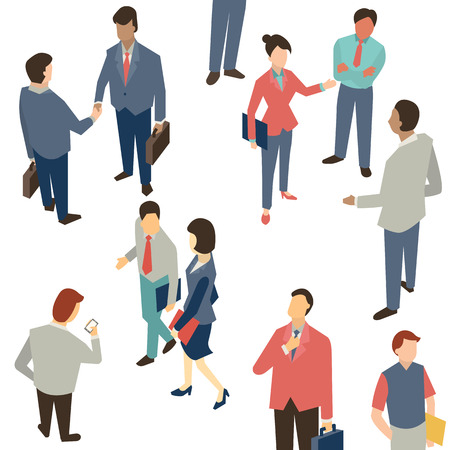 Foto de Character of Business people in communication concept, shaking hands, corporation, discussion. Multi-ethnic people and various activities. - Imagen libre de derechos