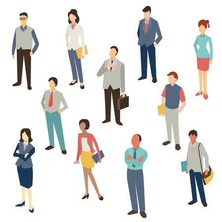 Illustrazione per Flat design character of business people, man and woman, full lenght, isolated on white, bird-eye-view. - Immagini Royalty Free