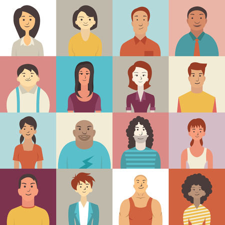 Illustrazione per Flat design character of diverse people smiling. - Immagini Royalty Free
