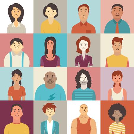 Illustration pour Flat design character of diverse people smiling. - image libre de droit